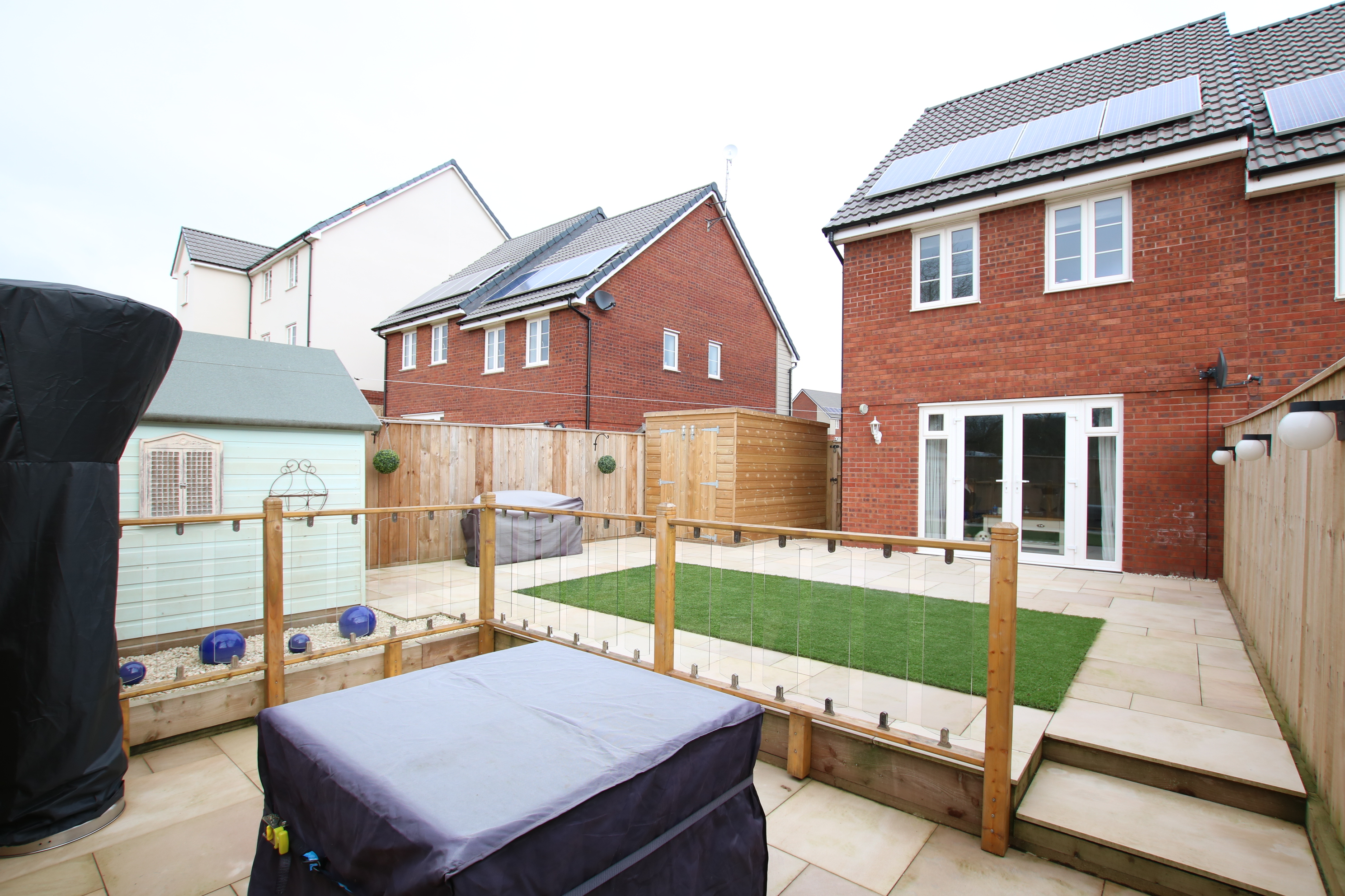 Semi detached property with landscaped rear garden and superb open outlook to the rear with two double bedrooms and and ensuite shower room the house